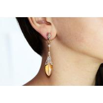 Arete Moda Largo Dorado Cristales Y Gota Naranja Ar180