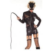 Sexy Disfraz Gatubela Body Vinyl 4 Piezas Mascara Y Latigo
