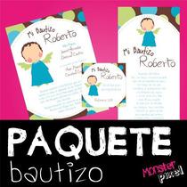 Paquete Bautizo Invitacion Oracion Y Agradecimiento