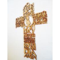 Cruz 25cm Angel Guarda Con Imagen Central Niña Recuerdos Mdf