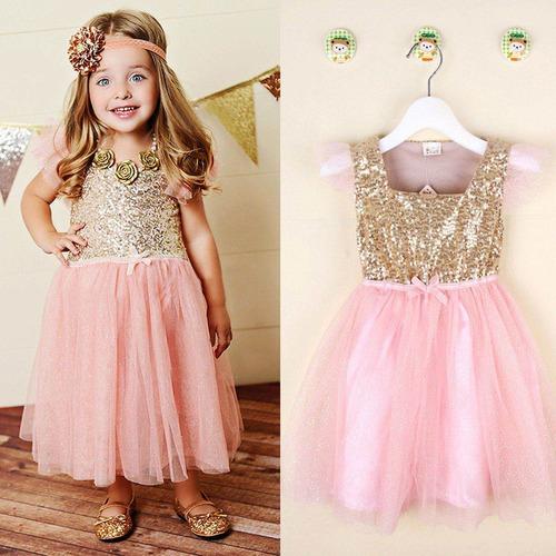 Vestidos de fiesta rosa con dorado