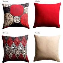 Cojines Decorativos (2 Pzas), 47x47 Cm, Rojo Y Beige,
