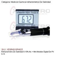 Refractometro De Salinidad 0-10%atc +medidor Digital Ph 0-14
