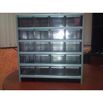 Gabinete Cajonero Visible Metalico Con 20 Cajas De Plastico