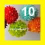 10 Lamparas De Papel Pom-pom Pompones Decoración Boda Xv Dj
