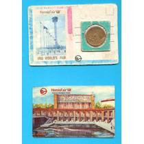 Ficha Y Postal Feria De 1968 En Sanantonio Texas
