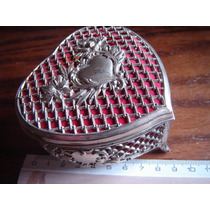 Caja Alhajero Joyero Art Nouveau Corazon Metal Plateado