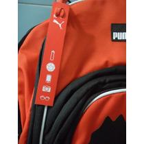 Mochila Puma Ball Backpack Naranja Con Negro Original