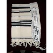 Tallit Talit Manto Ritual Mediano Kosher Israel Negro Tales