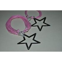 Collar Pulsera De Hilos Con Dijes Diamantados Estrella Coraz