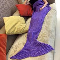 Cobija Cola De Sirena Crochet 1.80 Largo Morada Envío Gratis