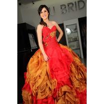 Vestido Ragazza De Xv Años Color Rojo Con Dorado