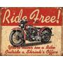 Poster Metalico Litografia Harley Ride Free Cartel Anuncio R