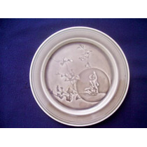Antiguo Plato Francia 1800 ´s Porcelana Mujer Con Flores Hm4