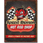 Poster Metalico Anuncio Speed Demon Tienda Hot Rod