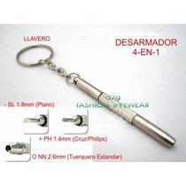 Mini Desarmador 4-en-1: Tuerq, +, - P/lentes, Reloj, Celular