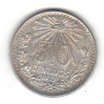 50 Centavos 1917 Plata Moneda México Venustiano Carranza Vbf