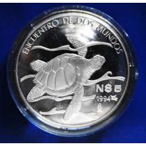 Moneda Plata !! Encuentro De Dos Mundos Tortuga Marina !!