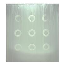 Cortina Para Baño Color Blanco Con Diseño De Circulos Ba-407