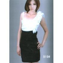 Vestido Japones Shifon Y Licra En Color Blanco Y Negro Hwo
