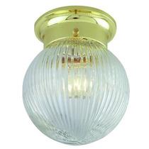 Lámpara Plafón En Forma De Globo. Color Oro Pantalla Cristal