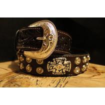 Cinturón,fajo,cinto Con Piedra Y Conchos,único De Piel Vv4