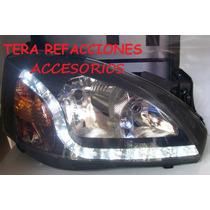 Faros Corsa Y Tornado Tipo Audi Con Tira De Leds Fondo Negro