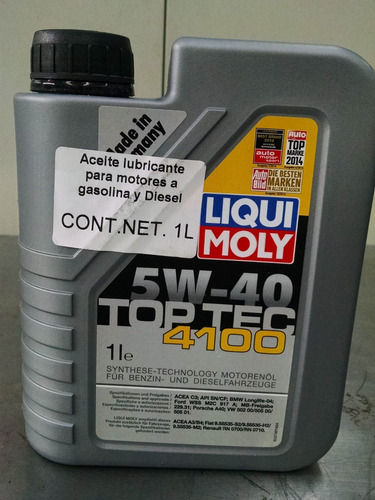 liqui moly aceite top tec 4100 5w40 1l diesel y gasolina. Black Bedroom Furniture Sets. Home Design Ideas