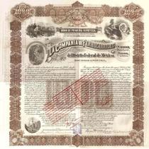 Antiguo Bono / Accion De Ferrocarriles Del D.f 1896 !!!!