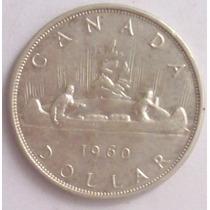 1 Dollar 1960 Plata Moneda Canada Reina Isabel Il - Vbf
