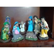 Nacimiento Decorado 8 Piezas Yeso Ceramico, Ojos Vidrio
