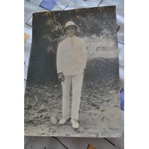 1950 Fotografia Antigua Cazador Señor Elegante Congo Belga