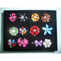 12 Anillos De Moda Fantasia Fina Flores Cristal