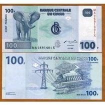 Billete Congo 100 Francos (2007) Elefante