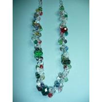 Hermoso Collar De Moda Fantasia Fina Cuarzos Y Cristales