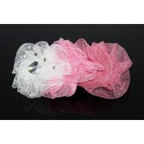 Prendedor Cabello Corrugado Rosa Y Blanco Cristales Pre29