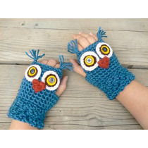 Guantes Sin Dedos O Mitones Modelo Buho Crochet