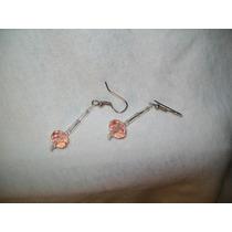 Gcg Aretes De Cristal Cortado Rosa Bolitas