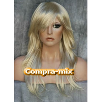Peluca Super Natural Larga Color Rubia Platinada, Idd