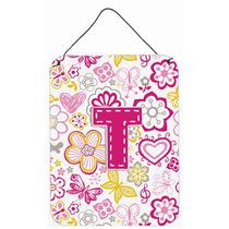 Letra T Flores Y Mariposas Pared De Color Rosa O Puerta Colg