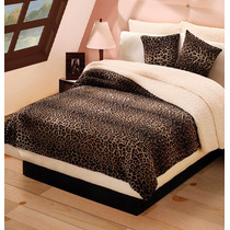 Cobertor Leopardo Con Borrega King Size Animal Print