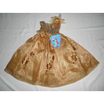 Lidisimo Vestidos Largo Dorado Fiesta Niña 2 Años Nuevo