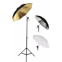 Kit 3 Sombrillas Con Tripie Iluminacion Fotografia Foto
