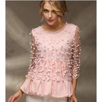 Preciosa, Elegante Y Original Blusa Rosa