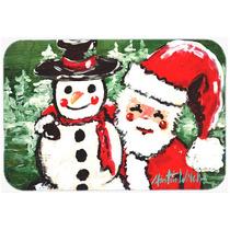 Amigos Muñeco De Nieve Y Santa Claus De Cristal Tarjeta De