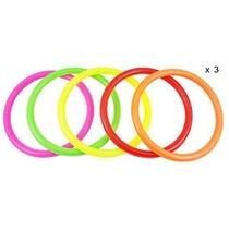 Ujoy Paquete De 15 Multicolores De Plástico Toss Anillos Par