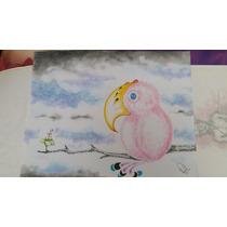 Dibujo A Lápiz De Color Pajaro Rosa