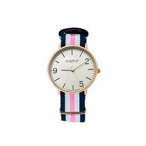Reloj Nine2five Color Azul Y Rosa Precioso Ligero De Moda
