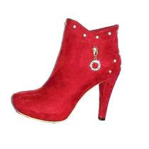 Botines Y Botas Rojas Calzado Dama Frio Invierno Piel