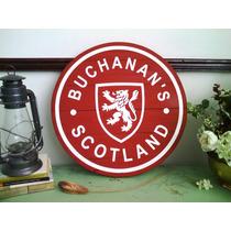Cuadro Anuncio Letrero Whisky Buchanans Madera Bar Cantina
